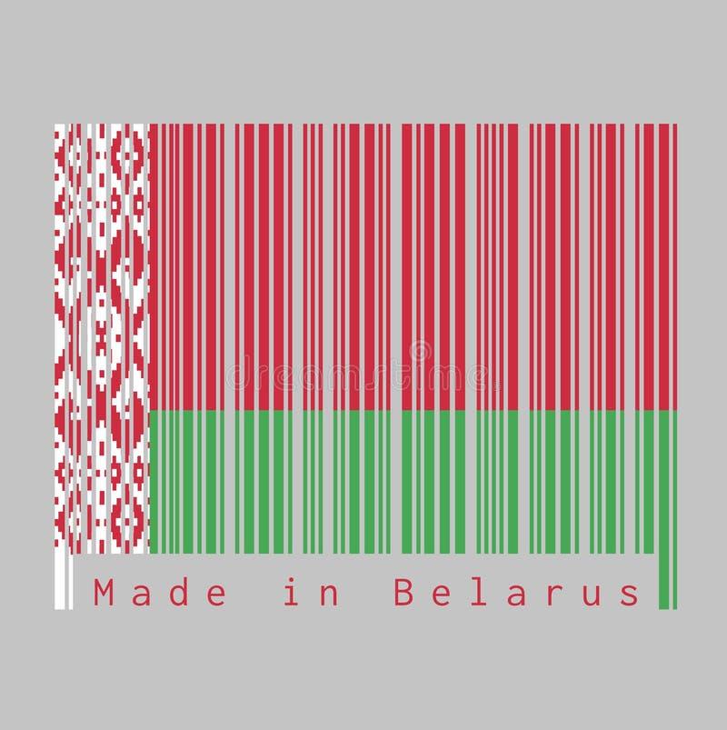 O código de barras ajustou a cor da bandeira de Bielorrússia, vermelha sobre a cor verde com um teste padrão decorativo vermelho  ilustração royalty free