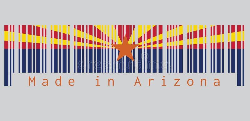 O código de barras ajustou a cor da bandeira do Arizona, os estados de América, vermelho e solda-amarelo na metade superior ilustração do vetor