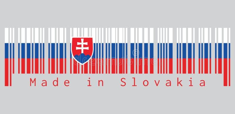 O código de barras ajustou a cor da bandeira eslovaca, azul e vermelho brancos; carregado com um protetor conter uma cruz branca  ilustração stock