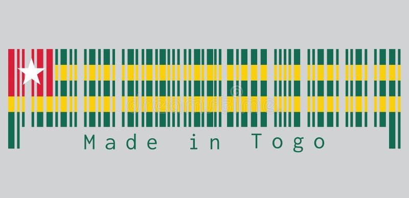 O código de barras ajustou a cor da bandeira togolesa, cinco faixas horizontais iguais de alternar verde com o amarelo; com um ca ilustração do vetor