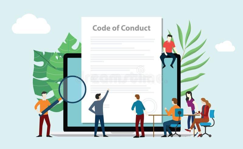 O código de povos da equipe da conduta trabalha junto no documento de papel na tela do portátil - vetor ilustração royalty free