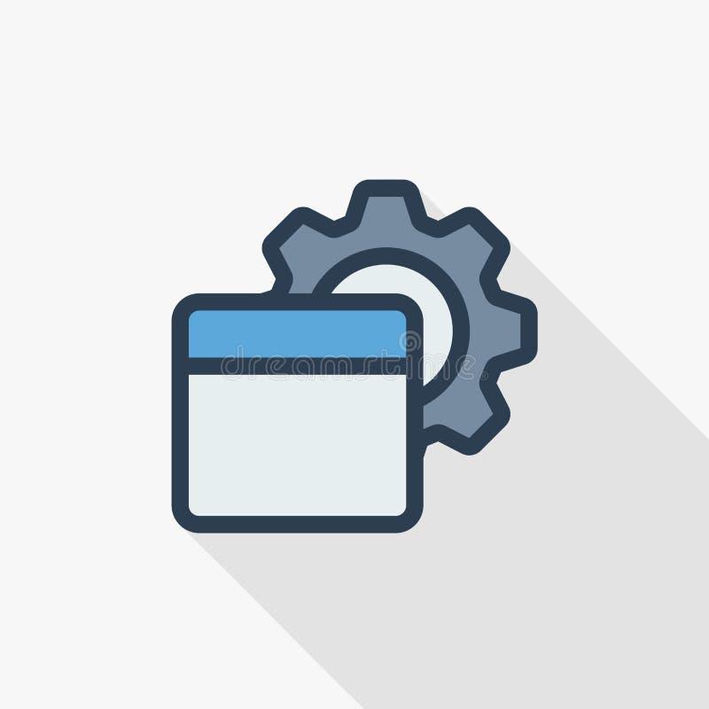 O código de programação, aplicação setup alinha finamente o ícone liso Projeto longo colorido da sombra do símbolo linear do veto ilustração do vetor
