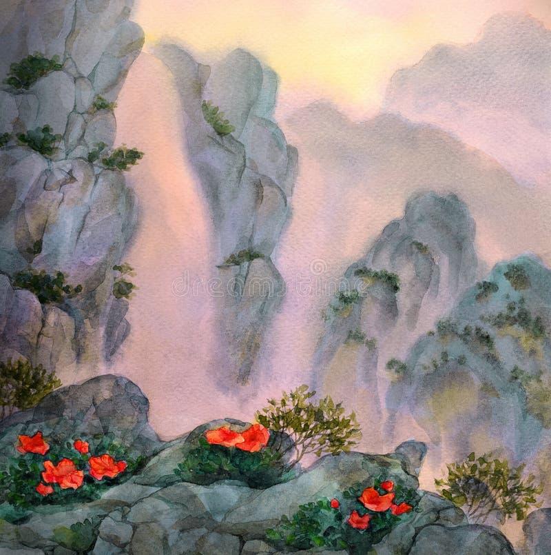 O córrego da montanha cai entre as rochas no por do sol ilustração do vetor