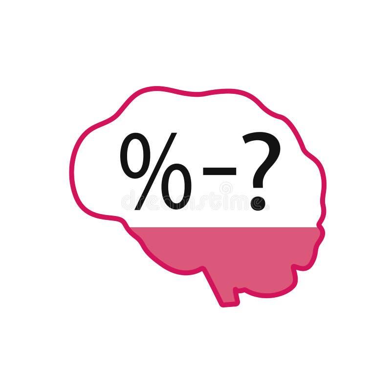 O c?rebro humano Que é a porcentagem do cérebro humano? Ícone do cérebro em um fundo isolado branco ilustração royalty free