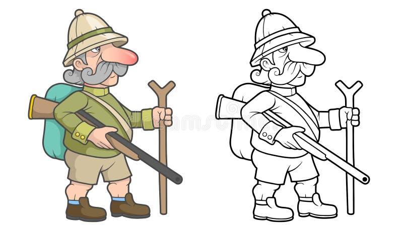 O caçador está procurando a rapina ilustração do vetor