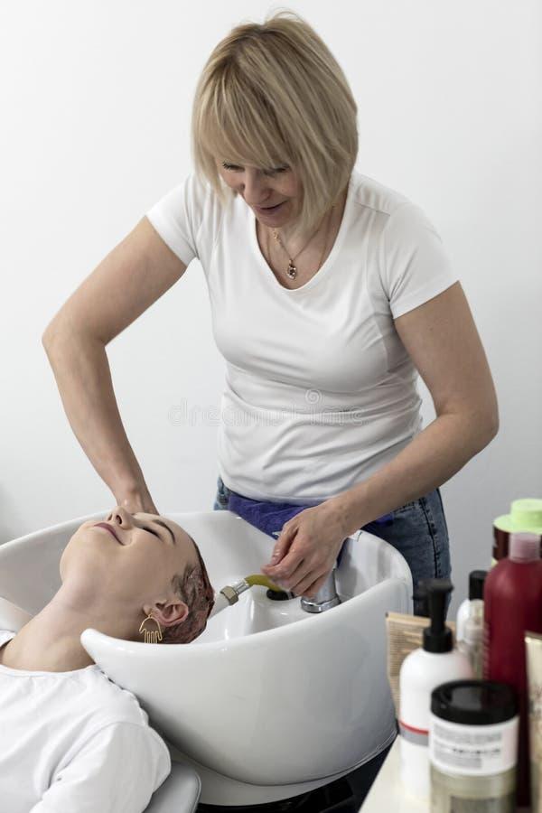 O cabeleireiro da mulher faz o penteado em um sal?o de beleza imagens de stock