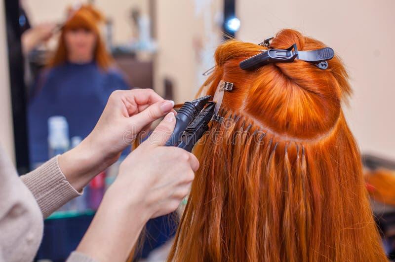 O cabeleireiro faz extensões do cabelo a uma menina nova, ruivo, em um salão de beleza imagem de stock royalty free