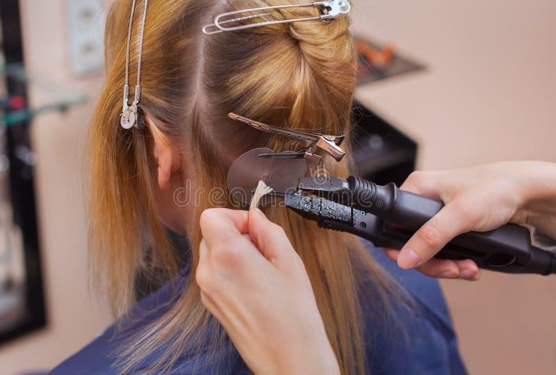 O cabeleireiro faz extensões do cabelo a uma moça, um louro em um salão de beleza imagens de stock