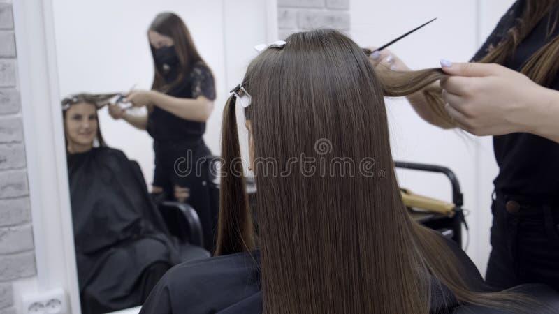 O cabeleireiro faz a laminação do cabelo em um salão de beleza para uma menina com cabelo moreno Conceito dos cuidados capilares imagens de stock royalty free