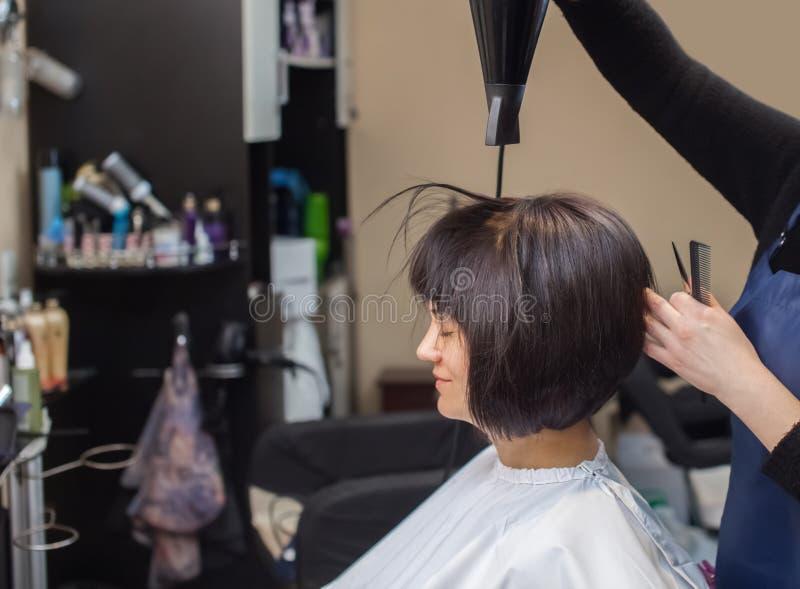 O cabeleireiro seca seu cabelo uma menina moreno em um salão de beleza foto de stock royalty free