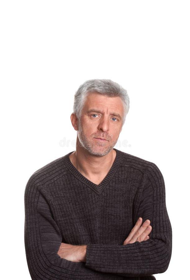 O cabelo cinzento do homem idoso olha infeliz imagens de stock royalty free