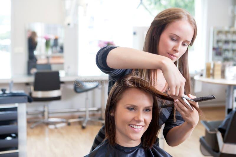 O cabelo de Cutting Client do cabeleireiro foto de stock