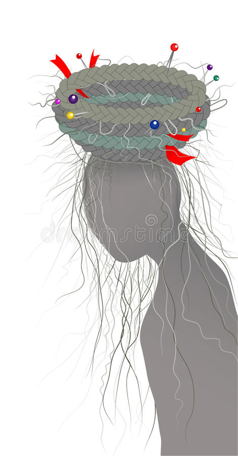 O cabelo trança a silhueta do ninho e da mulher ilustração stock