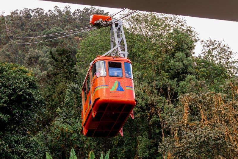 O cabo aéreo Bogotá Colômbia de Monserrate fotografia de stock royalty free