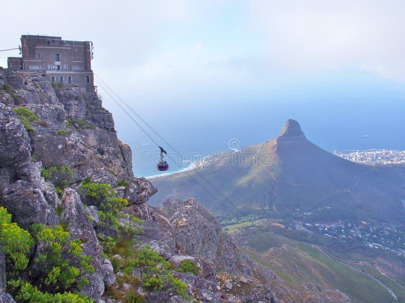 O cabo aéreo da montanha da tabela toma passageiros à estação superior do cabo no parque nacional da montanha da tabela foto de stock royalty free