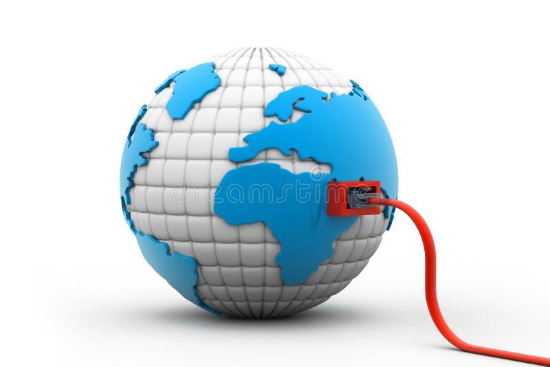 O cabo da rede conectou o globo ilustração do vetor