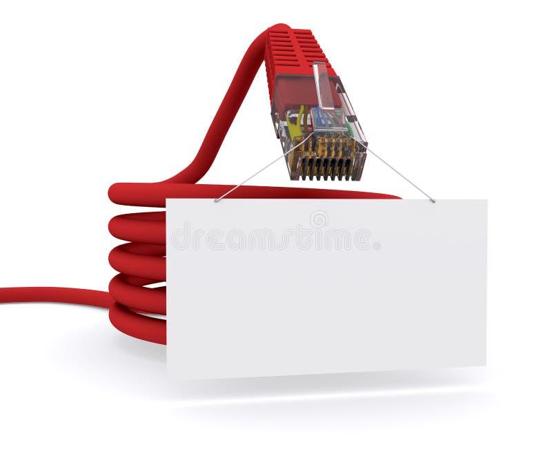O cabo da rede está prendendo uma tabuleta ilustração do vetor