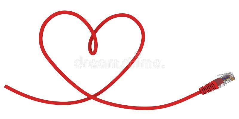 O cabo da rede torceu na forma do coração ilustração do vetor