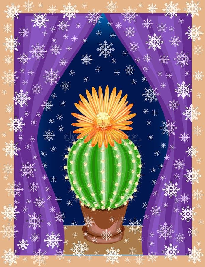 O cacto cresce na casa na soleira A planta é exótica, com uma flor bonita E fora da janela no ilustração royalty free