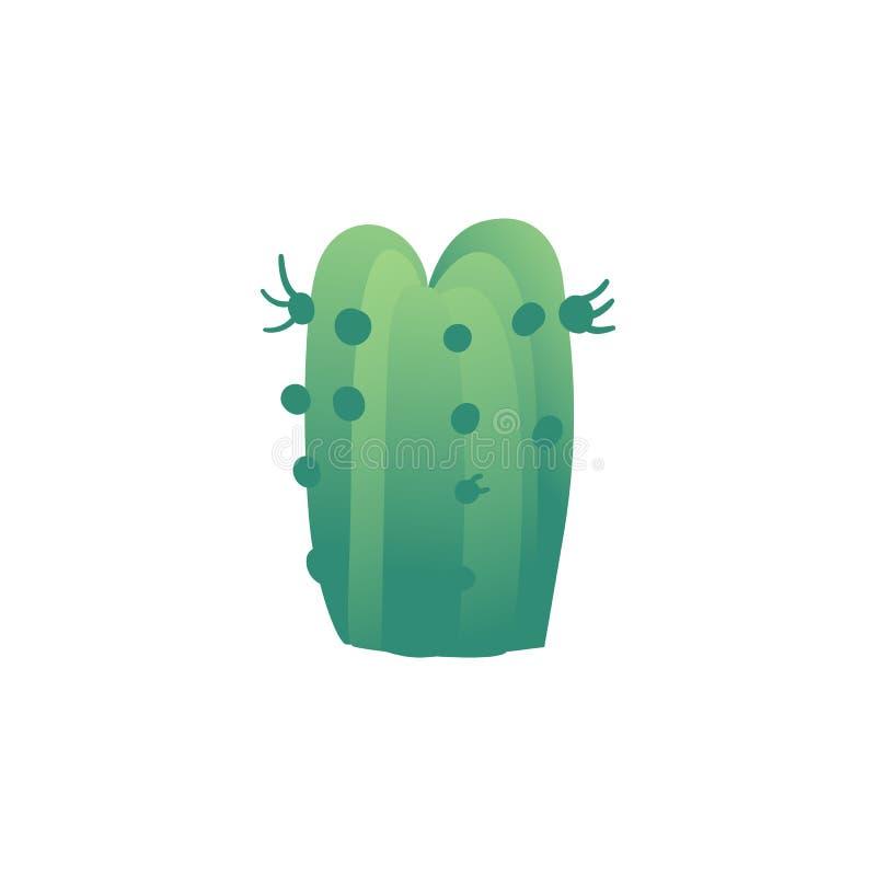 O cacto a ilustração lisa do vetor do deserto ou da planta pré-histórica do período isolou-se ilustração do vetor