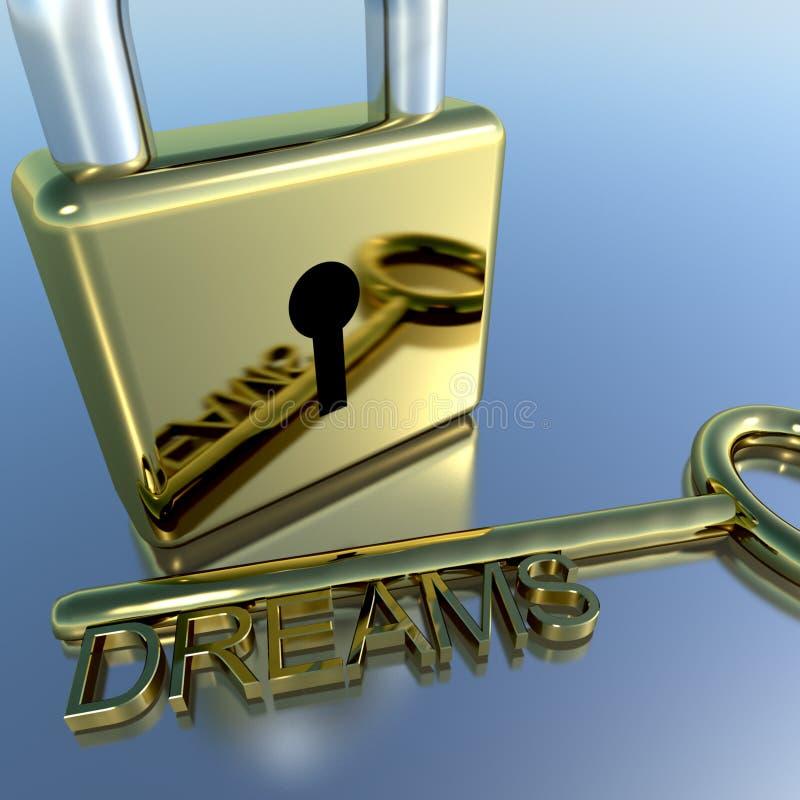 O cadeado com exibição chave dos sonhos deseja a esperança e o futuro fotos de stock royalty free