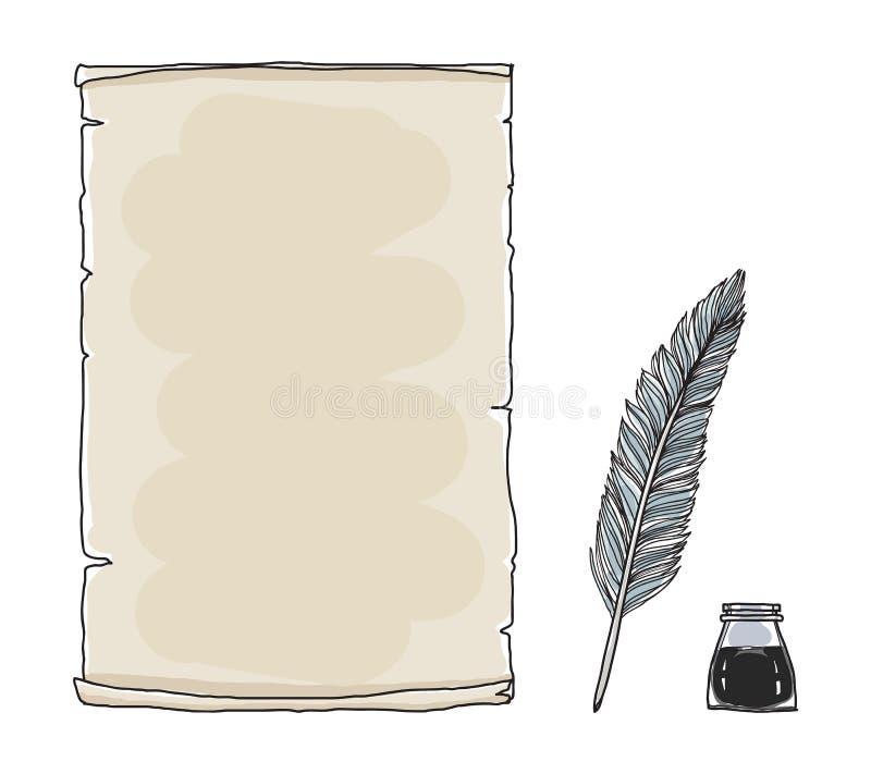 O caderno e a pena de papel do vintage encerram a arte tirada mão IL do vetor ilustração do vetor