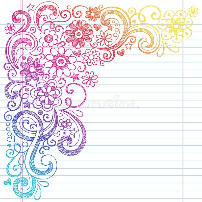 O caderno esboçado da escola das flores rabisca a ilustração do vetor ilustração stock