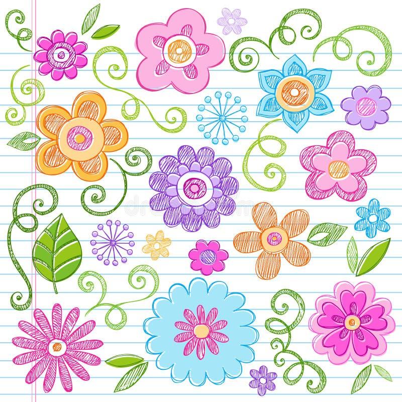 O caderno esboçado das flores Doodles o jogo do vetor ilustração do vetor