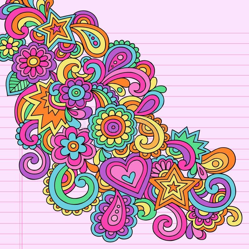 O caderno psicadélico abstrato Doodles o vetor ilustração stock