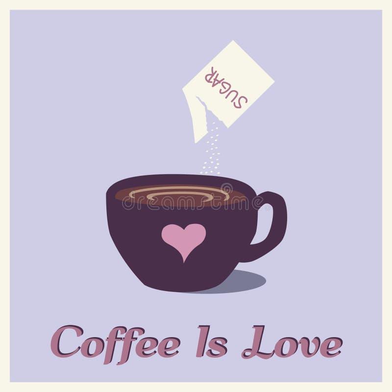 O café é gráfico do amor ilustração do vetor