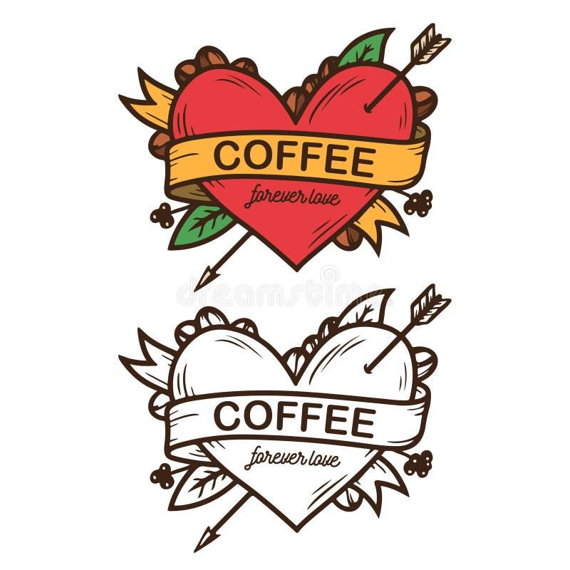 O café ama para sempre o cartaz tirado mão Ilustração do vintage do vetor ilustração stock