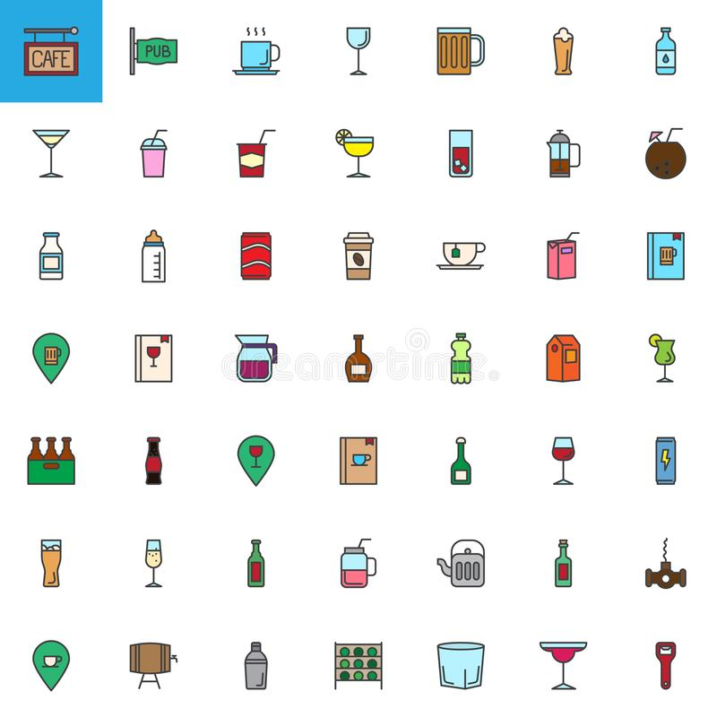 O café, as bebidas da barra e as bebidas encheram os ícones do esboço ajustados ilustração stock