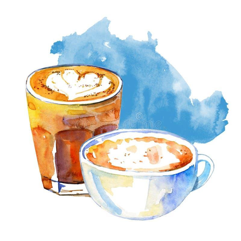 O café bebe a ilustração da aquarela Composição tirada mão do esboço com as duas canecas de latte e cappuccino e mancha azul ilustração stock