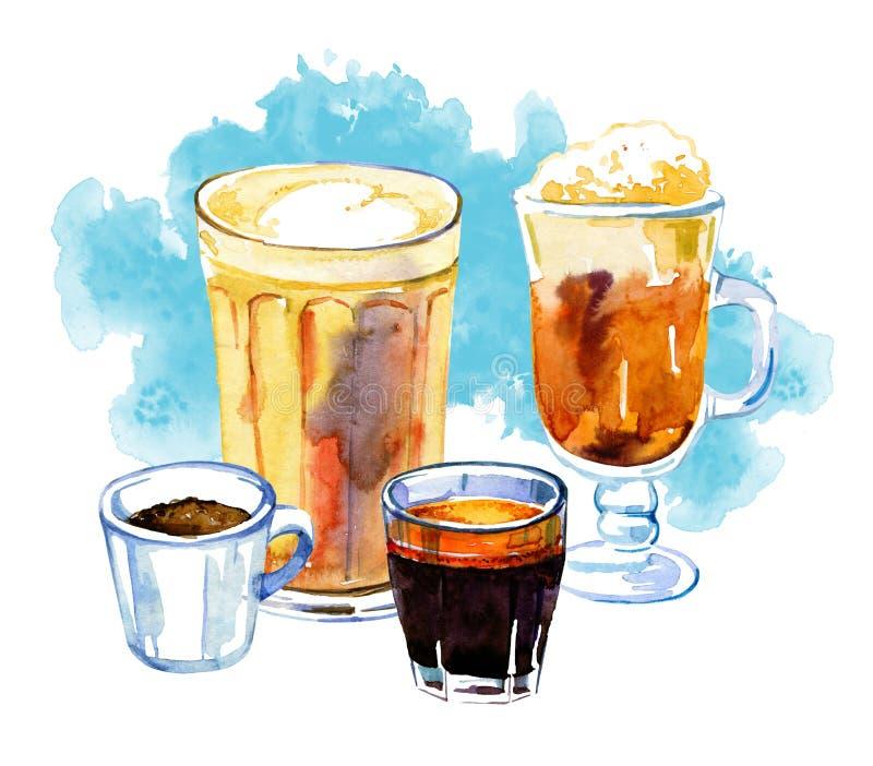 O café bebe a ilustração da aquarela Compositionwith tirado mão do esboço quatro copos de bebidas diferentes e da mancha azul ilustração do vetor