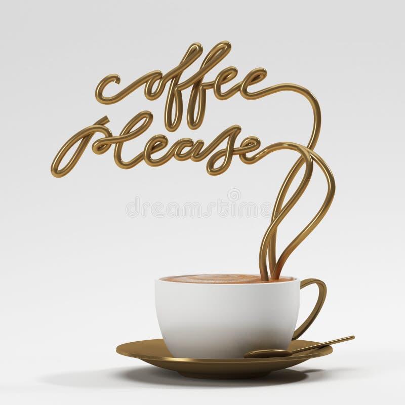 O café cita por favor com copo, cartaz da tipografia ilustração do vetor
