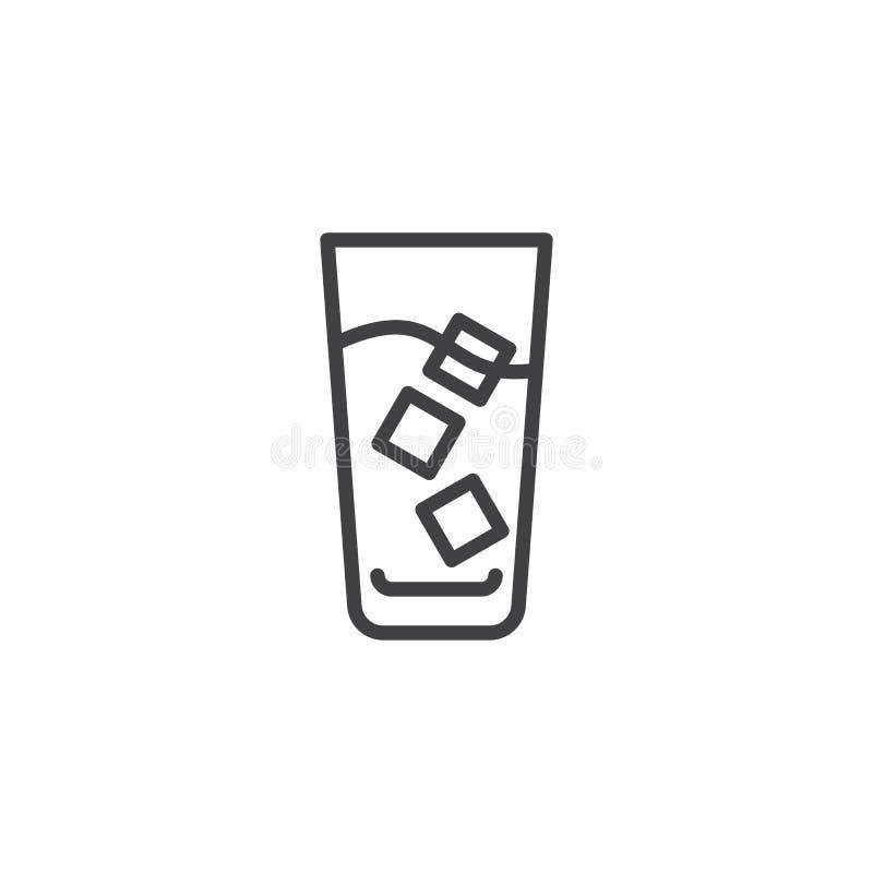 O café congelado com cubos de gelo alinha o ícone ilustração stock