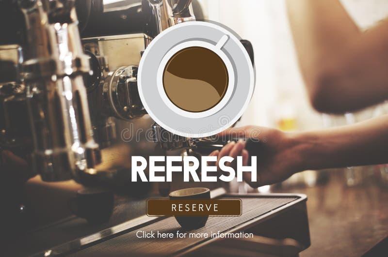O café da bebida refresca o conceito aromático da ruptura de café fotografia de stock