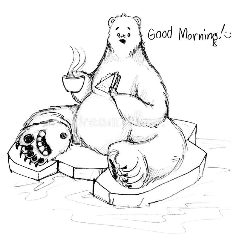 O café da manhã do urso da cola diz o bom dia que senta-se no gelo ilustração royalty free