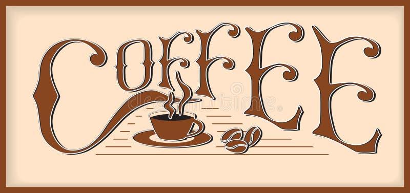O café da palavra ilustração royalty free
