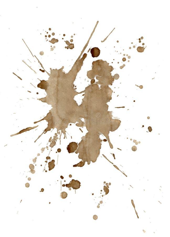 O café de Brown mancha e chapinha isolado no branco foto de stock