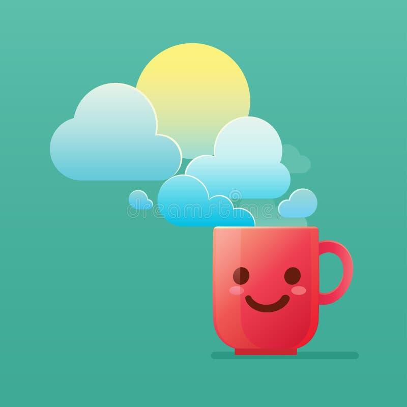 O café faz-me refrescar na manhã no cada dias úteis ilustração royalty free