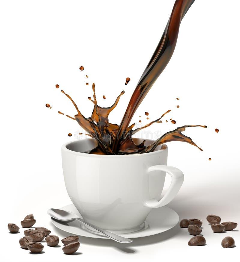 O café líquido derrama e espirra em um copo branco em pires ilustração royalty free