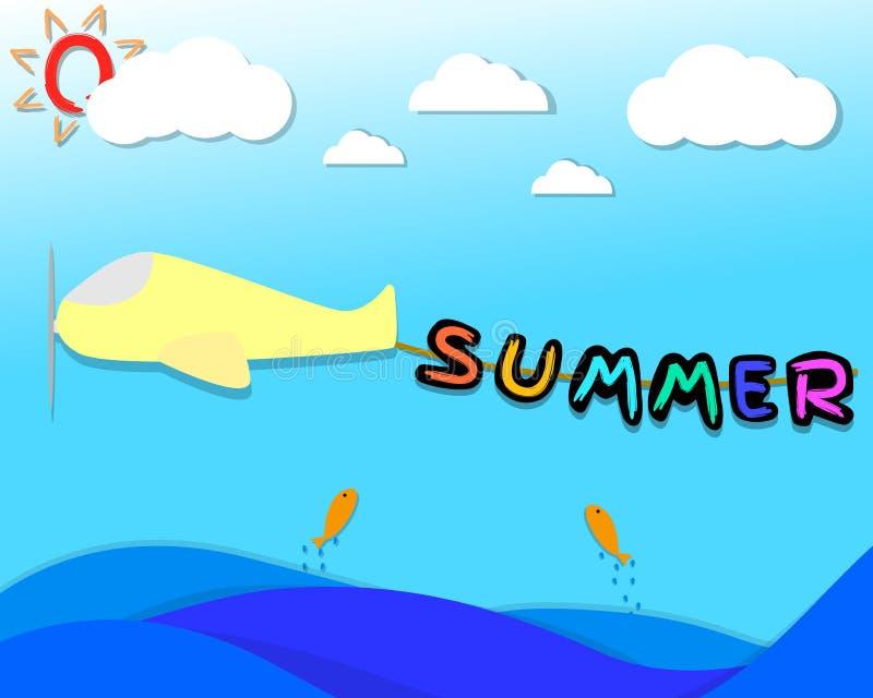 O cair do caráter do verão na corda que liga seja couro cru o avião avião que voa sobre o mar no céu com nuvem e sol ilustração do vetor