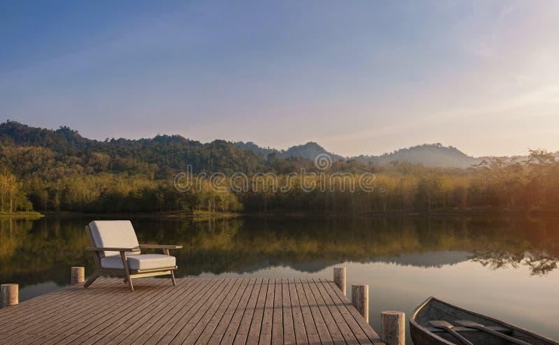 O cais de madeira olha para fora ao lago, à floresta e ao Mountain View 3d para render ilustração do vetor