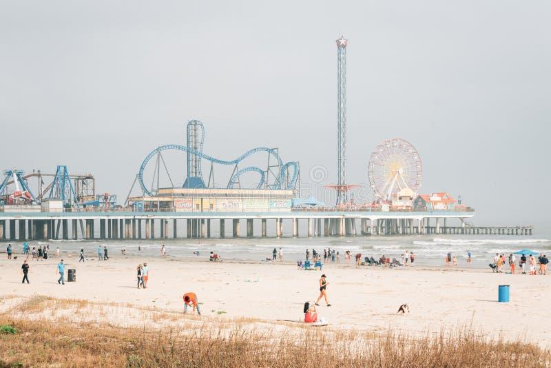 O cais histórico do prazer da ilha de Galveston, em Galveston, Texas imagens de stock royalty free