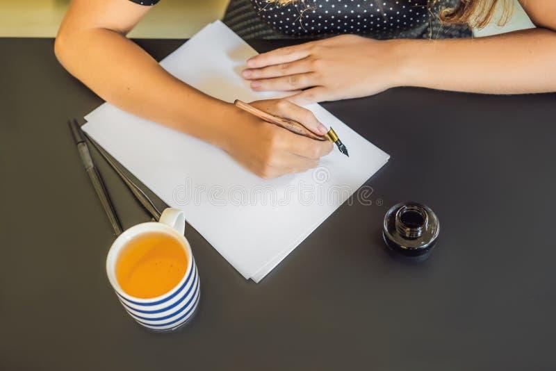 O cal?grafo Young Woman escreve a frase no Livro Branco Inscreendo letras decoradas decorativas Caligrafia, gr?fico imagem de stock