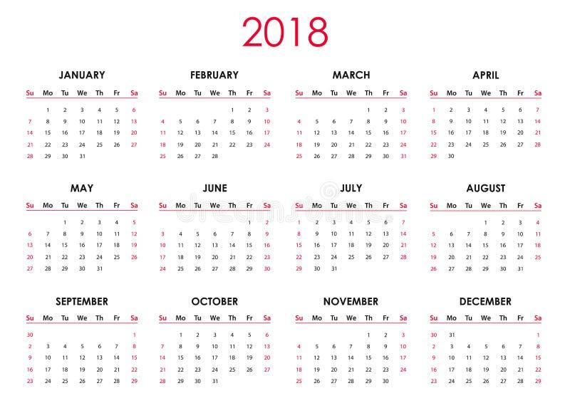 O calendário 2018 ilustração stock