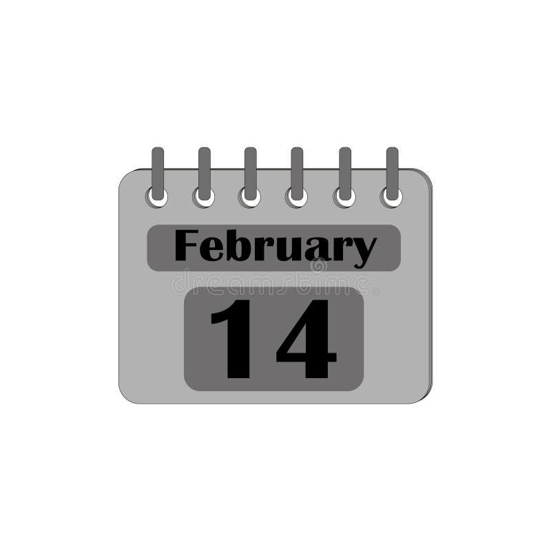 O calendário com a data do 14 de fevereiro é cinza isolado em um fundo branco ilustração stock
