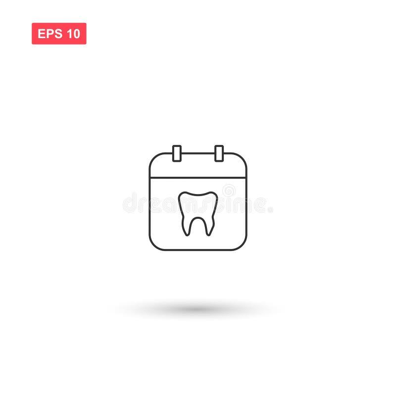 O calendário com projeto do vetor dos dentes isolou 3 ilustração royalty free