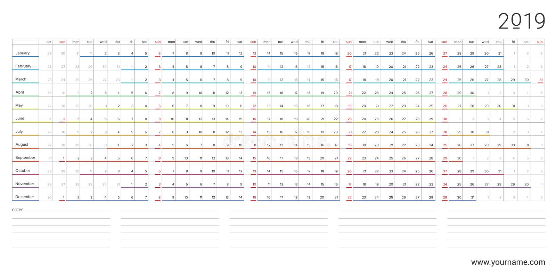 O calendário 2019 com projeto horizontal do arco-íris, domingos selecionou ilustração stock